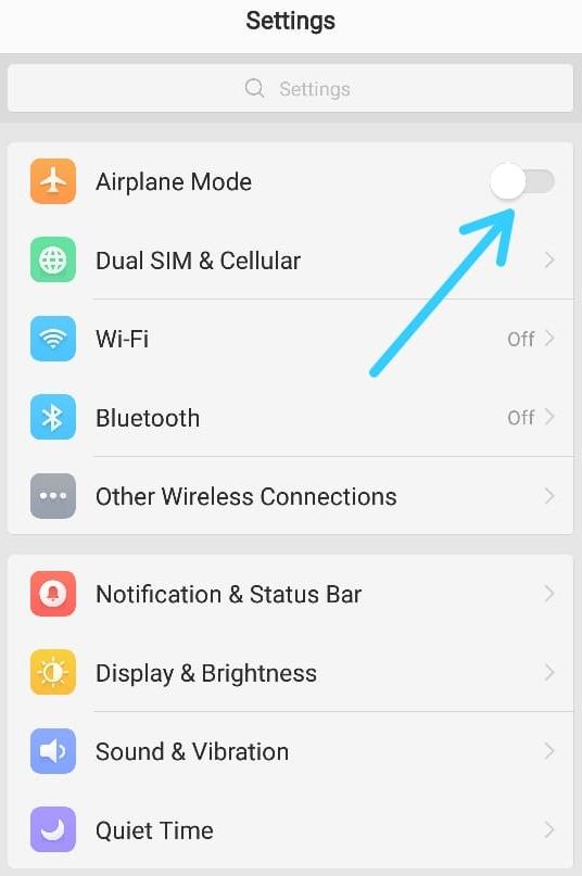 cara memperbaiki masalah internet airplane mode